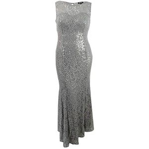 NWT- SL Fashions Silver Lace Gown